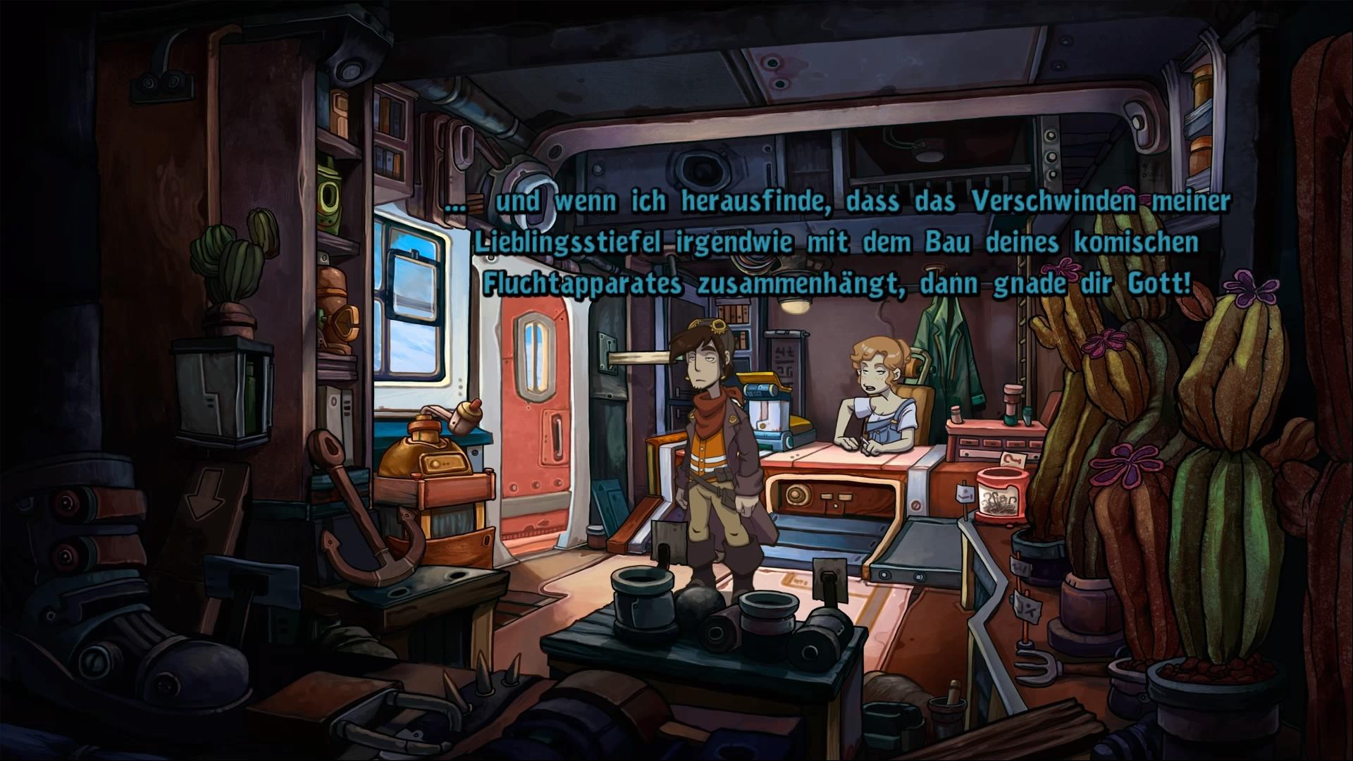 Auch auf der Konsole ist Toni nicht gut auf Rufus zu sprechen. Quelle: Screenshot Deponia