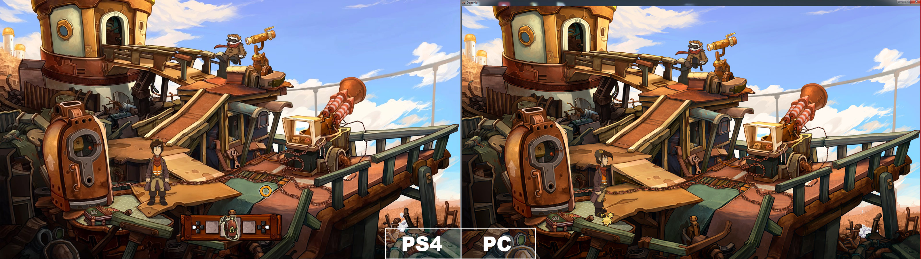 Die Grafik der PC und PS4 Versionen im Vergleich. Quelle: Screenshot Deponia