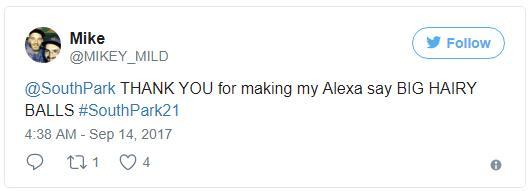 """Ein South Park Fan bedankt sich dafür, dass Cartman seine Alexa dazu gebracht hat """"Big Hairy Balls"""" zu sagen. (Quelle: Twitter)"""