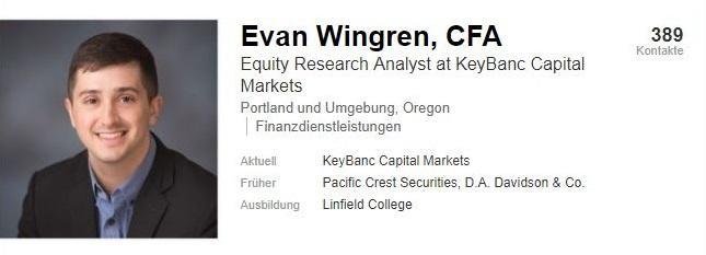 Finanzanalyst Evan Wingren sieht noch Potential beim Thema Mikrotransaktionen für EA. (Quelle: LinkedIn)
