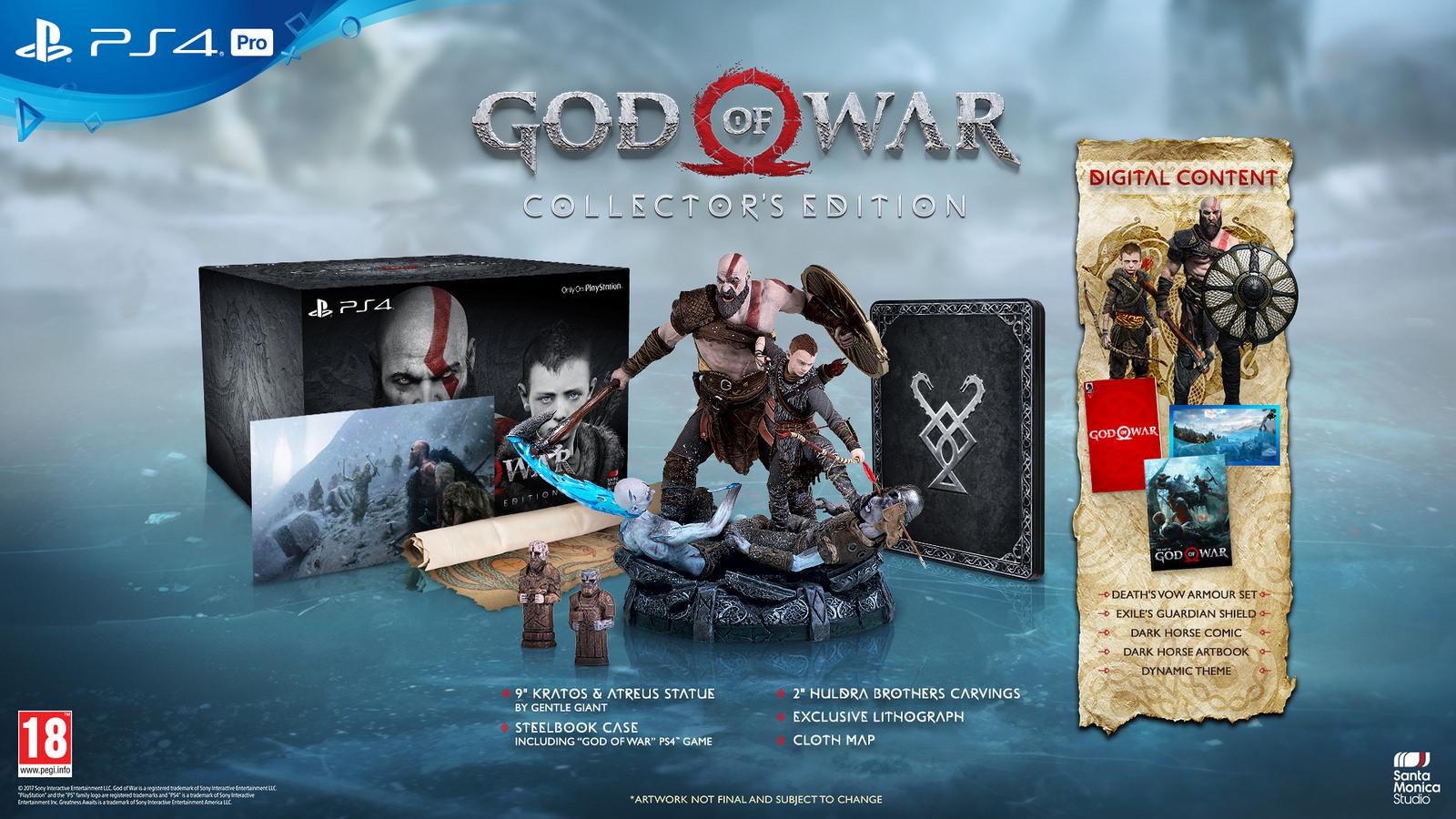 Freut euch unter anderem auf eine von Hand gefertige Statuette von Kratos und seinem Sohn. (Quelle: PS4)