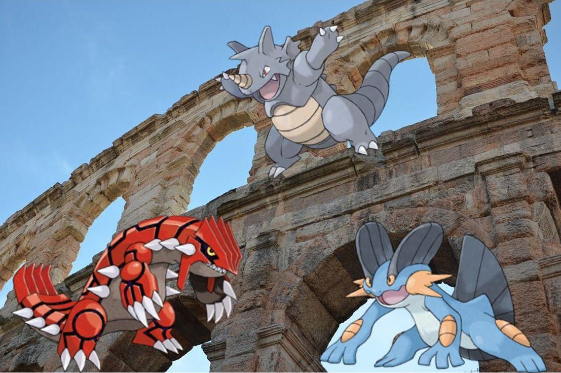 Groudon, Rhydon und Swampert stellen für Flygon eine richtige Konkurrenz dar. (Quelle: Pixabay, Pokéwiki)