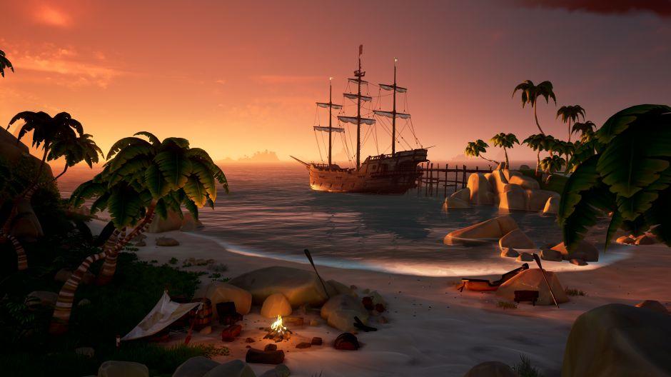Verbringt die Nacht an der Küste bei einem gemütlichen Lagerfeuer, ehe ihr euch zur nächsten Insel aufmacht. (Quelle: News.Xbox.com)