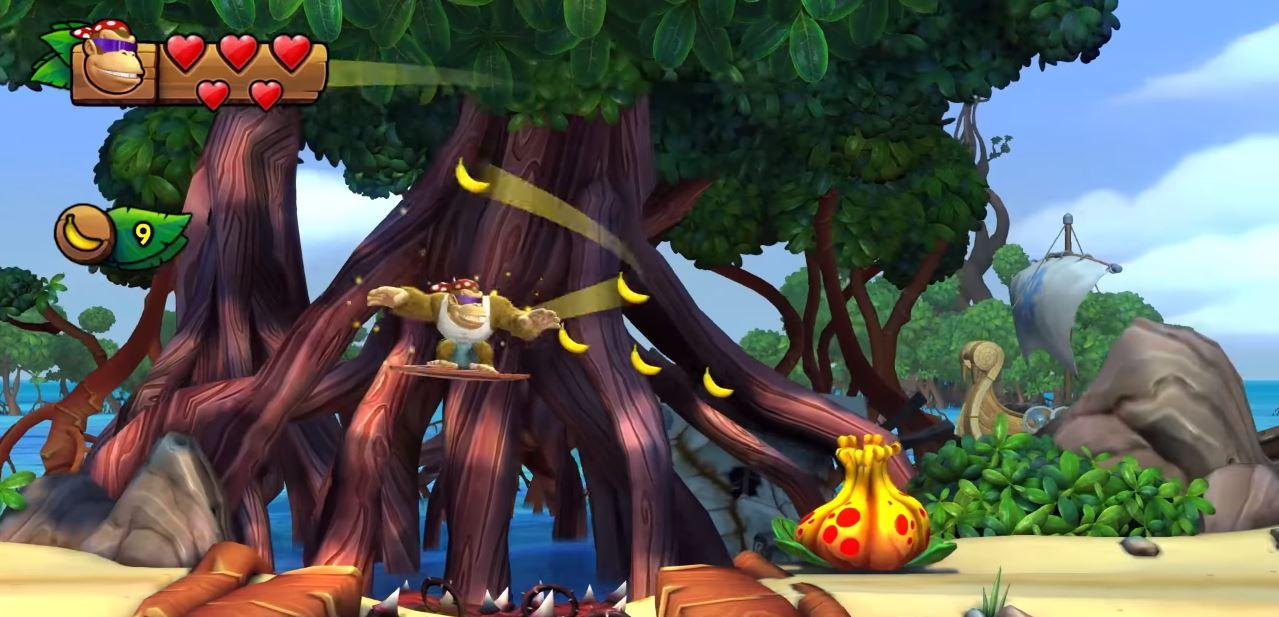 Sammelt mit Hilfe von Funky Kong Bananen, um weiter voran zu kommen. (Quelle: Nintendo Direct, Youtube)