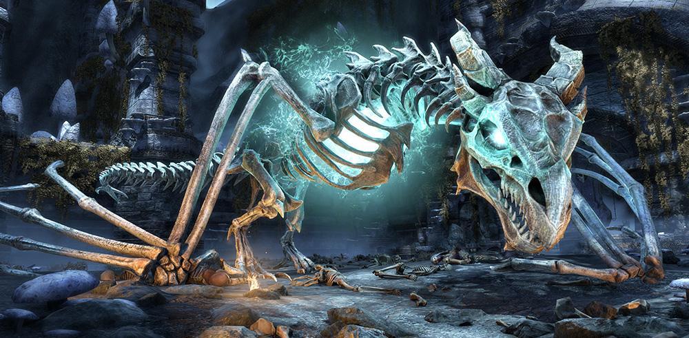 In einer alten Dwemerruine stellt ihr euch einen bereits toten Drachen, ehe er Tamriel in Schutt und Asche legt! (Quelle: The Elder Scrolls Online)