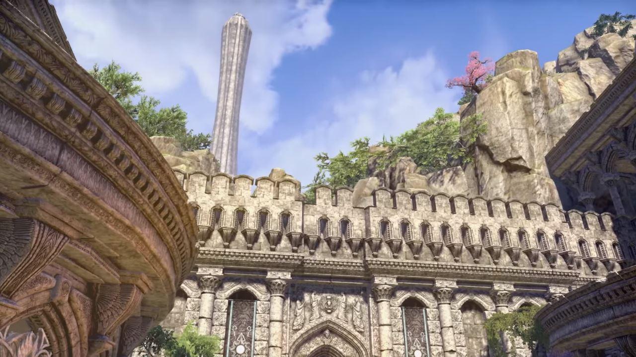 Der mystische Kristallturm zählt als heiliges Monument und Symbol zu den Wahrzeichen Summersets. (Quelle: Youtube | Bethesda Softworks)
